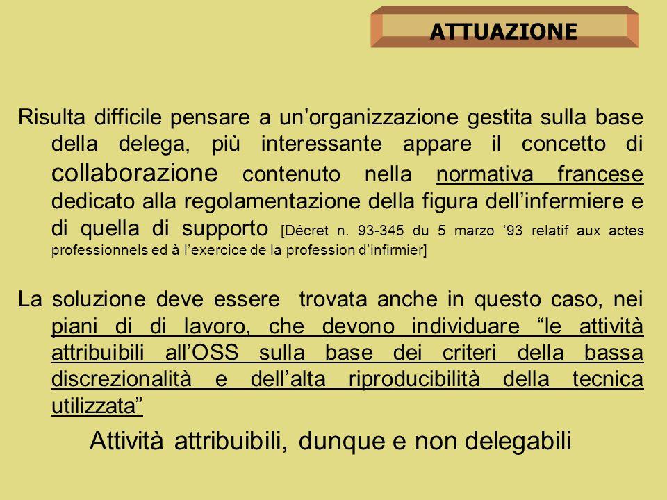 Attività attribuibili, dunque e non delegabili