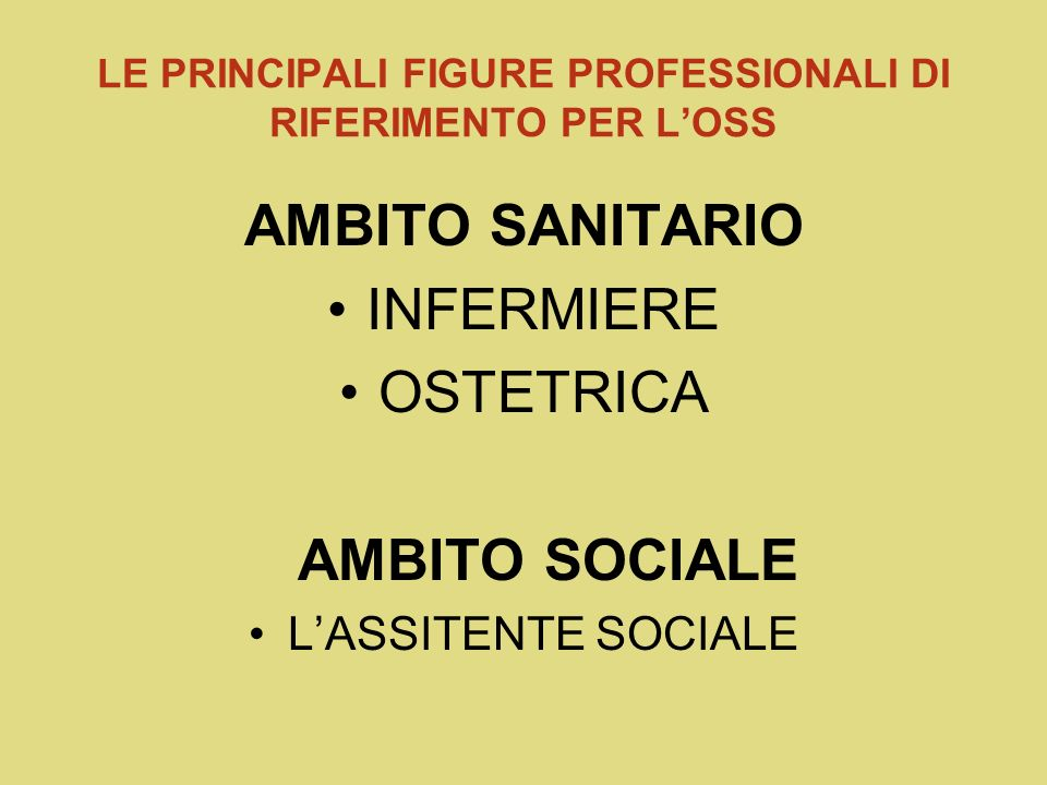 LE PRINCIPALI FIGURE PROFESSIONALI DI RIFERIMENTO PER L'OSS