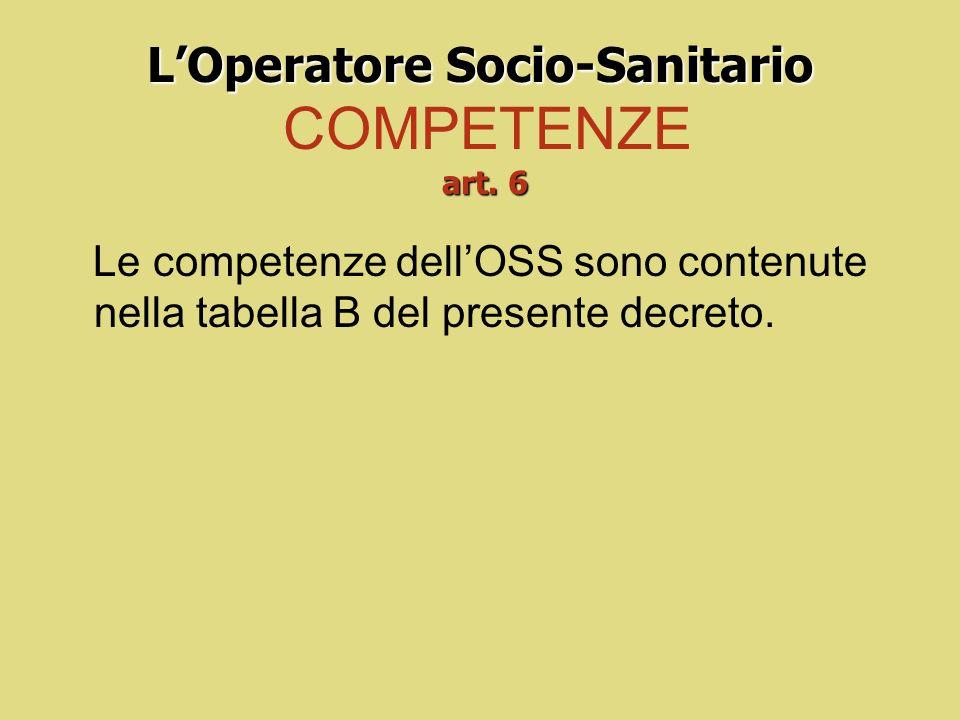 L'Operatore Socio-Sanitario COMPETENZE art. 6