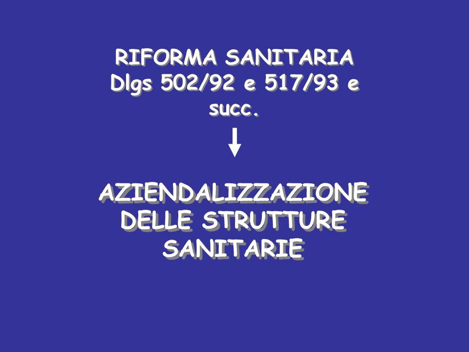 AZIENDALIZZAZIONE DELLE STRUTTURE SANITARIE