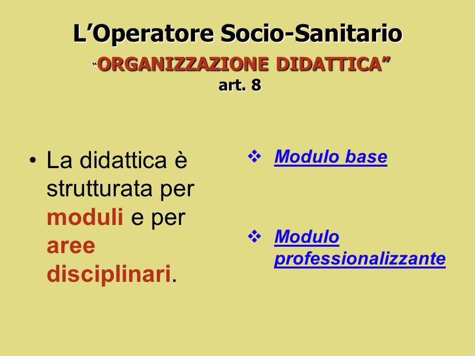 L'Operatore Socio-Sanitario ORGANIZZAZIONE DIDATTICA art. 8