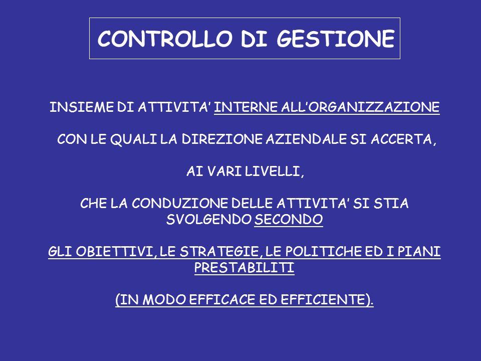 CONTROLLO DI GESTIONE INSIEME DI ATTIVITA' INTERNE ALL'ORGANIZZAZIONE