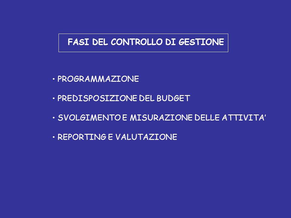 FASI DEL CONTROLLO DI GESTIONE