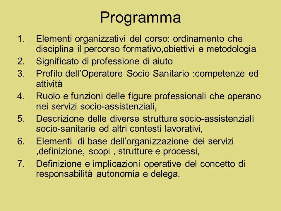 Programma Elementi organizzativi del corso: ordinamento che disciplina il percorso formativo,obiettivi e metodologia.