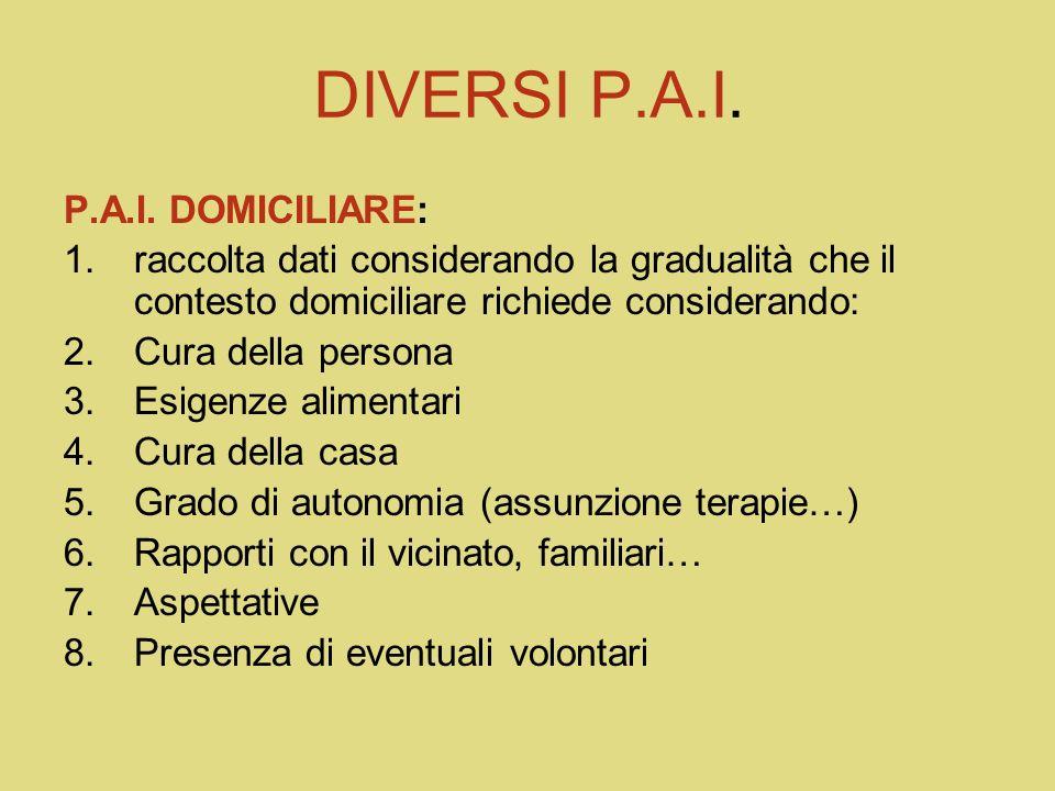 DIVERSI P.A.I. P.A.I. DOMICILIARE: