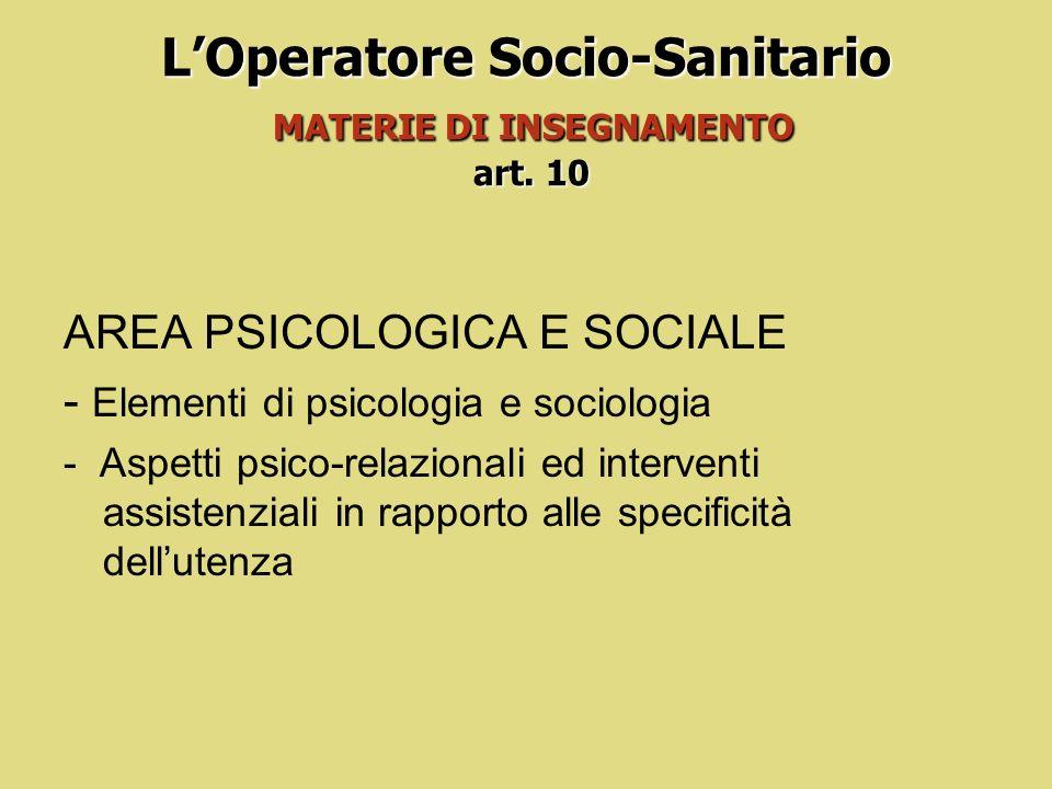L'Operatore Socio-Sanitario MATERIE DI INSEGNAMENTO art. 10