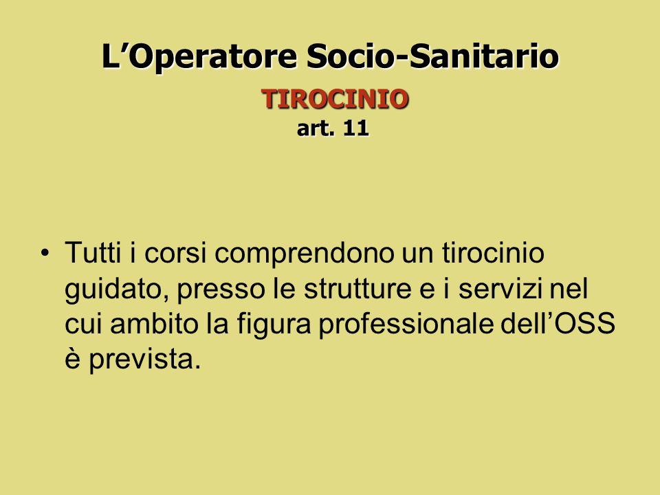 L'Operatore Socio-Sanitario TIROCINIO art. 11