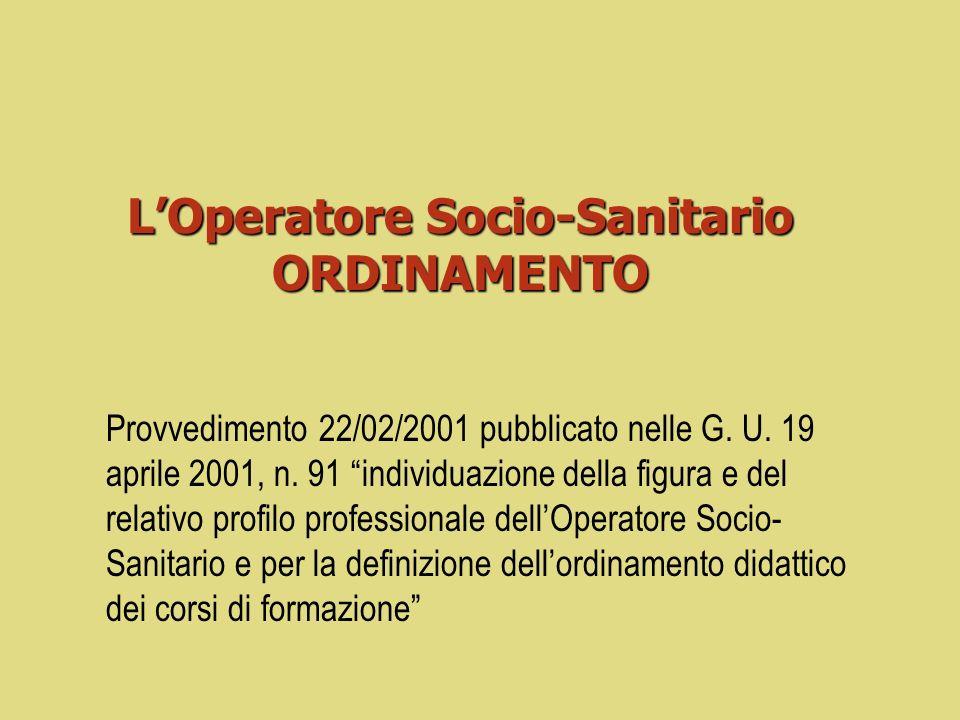 L'Operatore Socio-Sanitario ORDINAMENTO