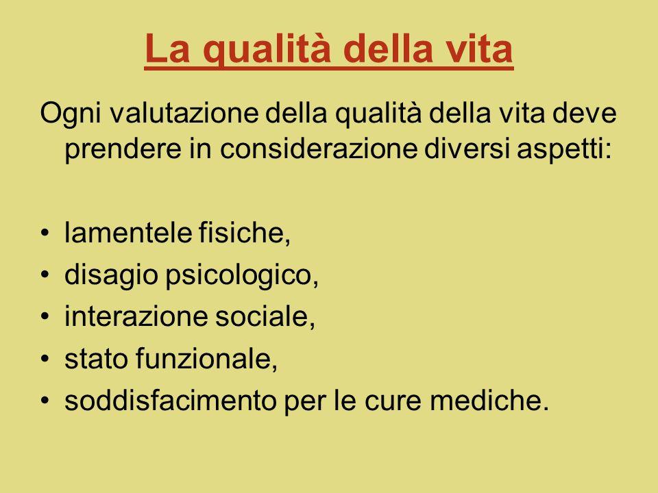 La qualità della vita Ogni valutazione della qualità della vita deve prendere in considerazione diversi aspetti: