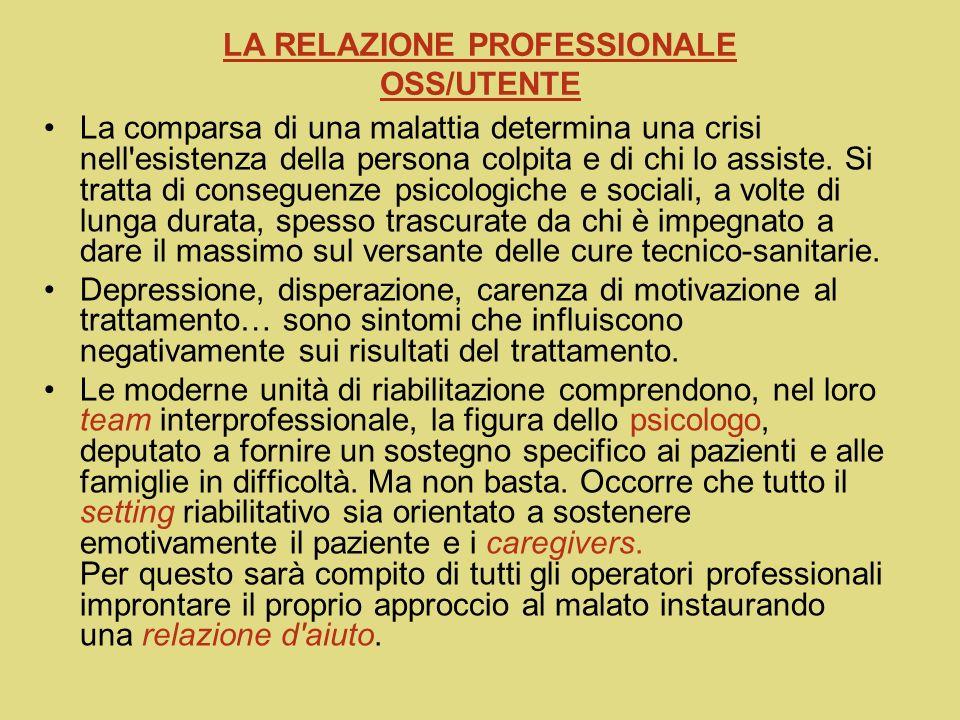 LA RELAZIONE PROFESSIONALE OSS/UTENTE