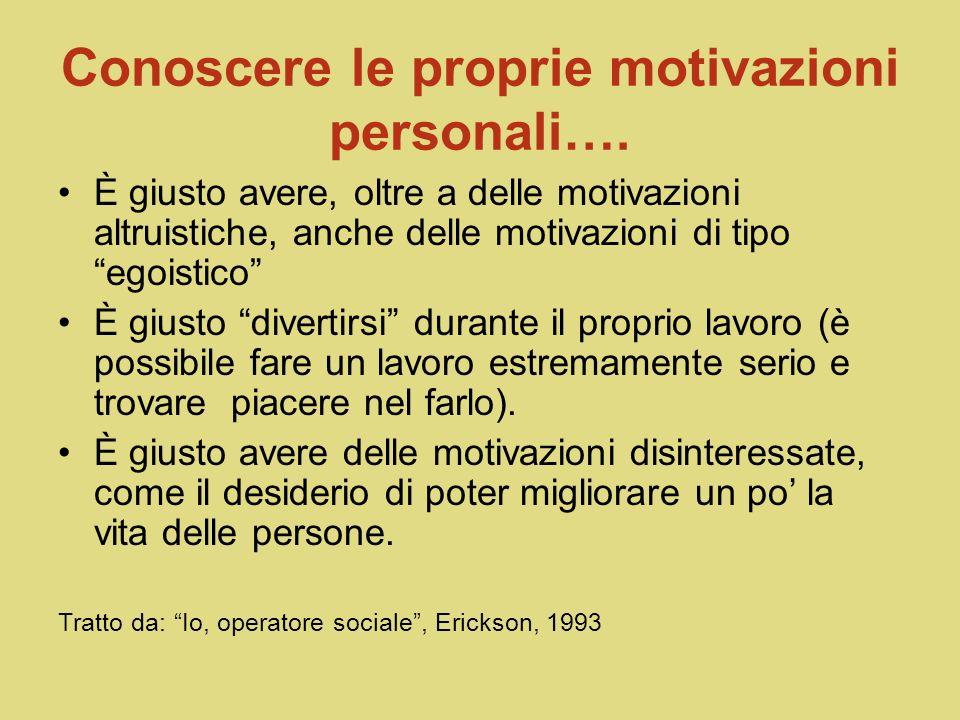 Conoscere le proprie motivazioni personali….