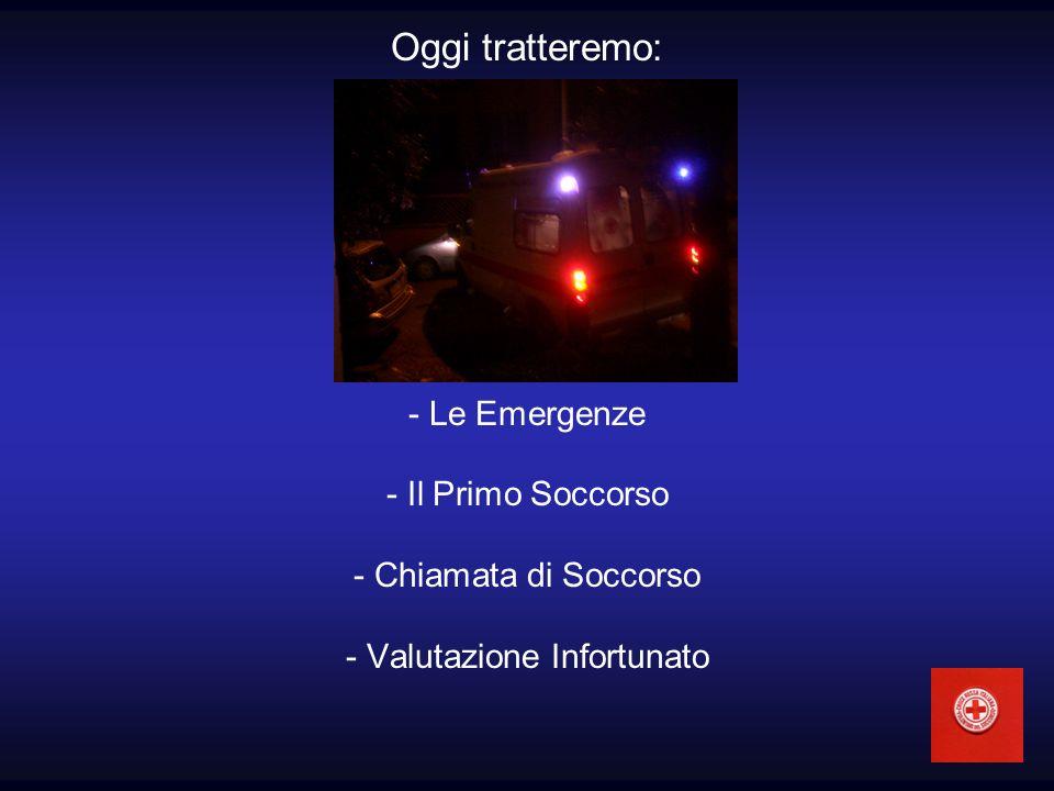 Oggi tratteremo: - Le Emergenze - Il Primo Soccorso - Chiamata di Soccorso - Valutazione Infortunato