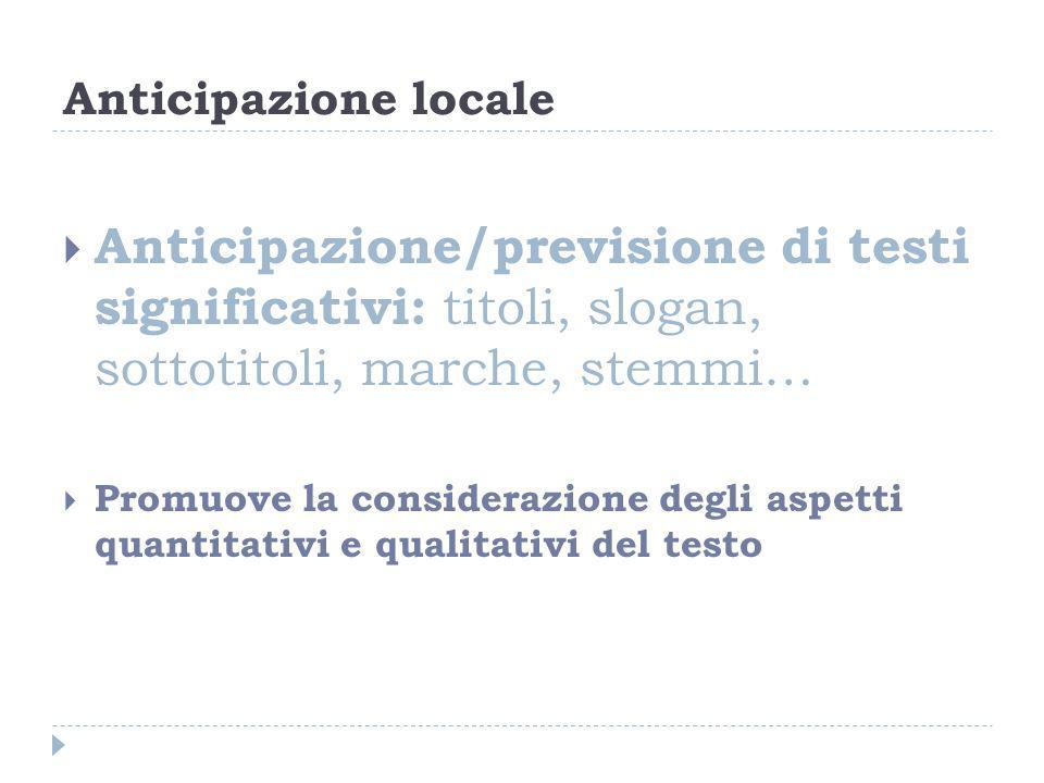 Anticipazione locale Anticipazione/previsione di testi significativi: titoli, slogan, sottotitoli, marche, stemmi…