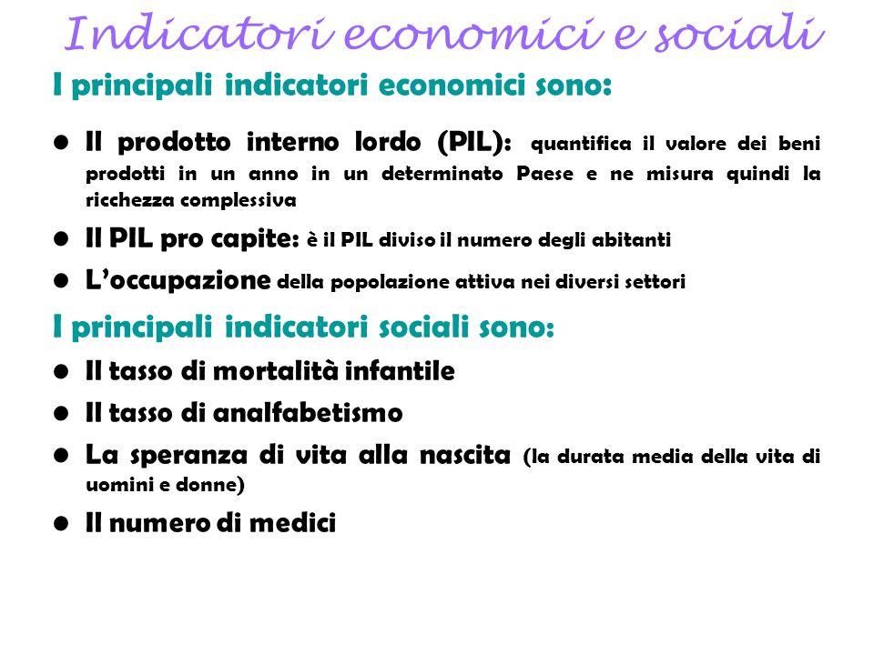 Indicatori economici e sociali