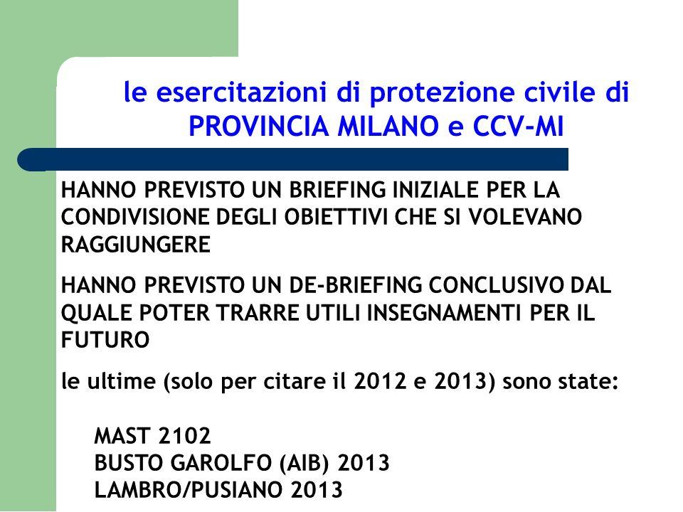 le esercitazioni di protezione civile di PROVINCIA MILANO e CCV-MI