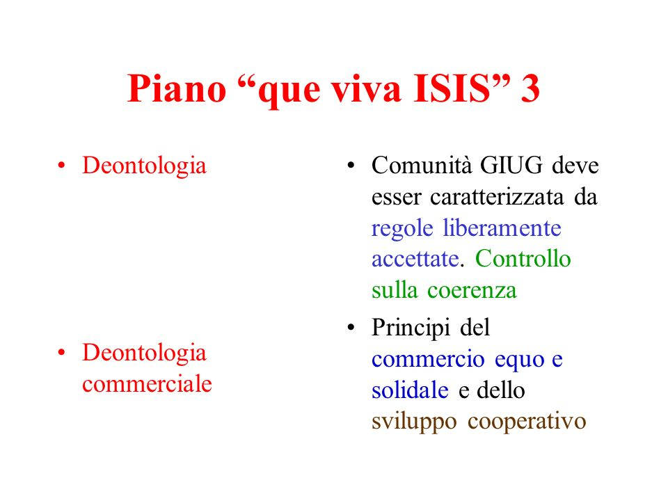 Piano que viva ISIS 3 Deontologia Deontologia commerciale