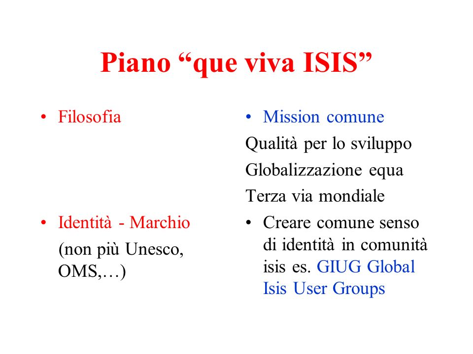 Piano que viva ISIS Filosofia Identità - Marchio