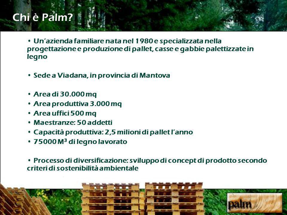 Chi è Palm Un'azienda familiare nata nel 1980 e specializzata nella progettazione e produzione di pallet, casse e gabbie palettizzate in legno.