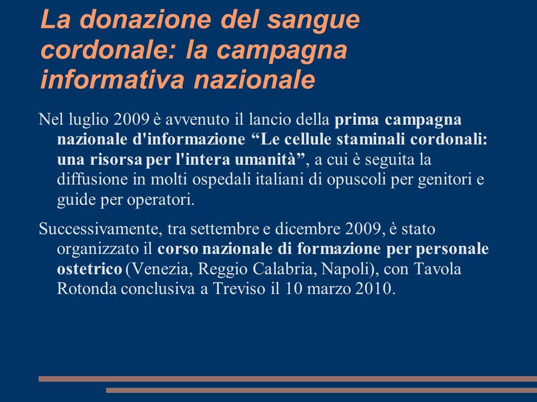 La donazione del sangue cordonale: la campagna informativa nazionale