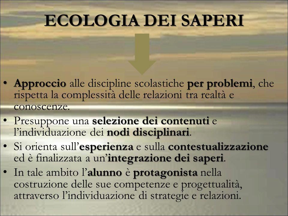 ECOLOGIA DEI SAPERI Approccio alle discipline scolastiche per problemi, che rispetta la complessità delle relazioni tra realtà e conoscenze.
