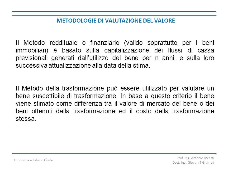 METODOLOGIE DI VALUTAZIONE DEL VALORE