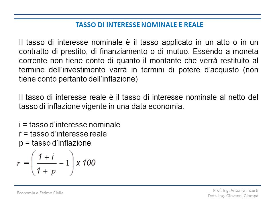 TASSO DI INTERESSE NOMINALE E REALE