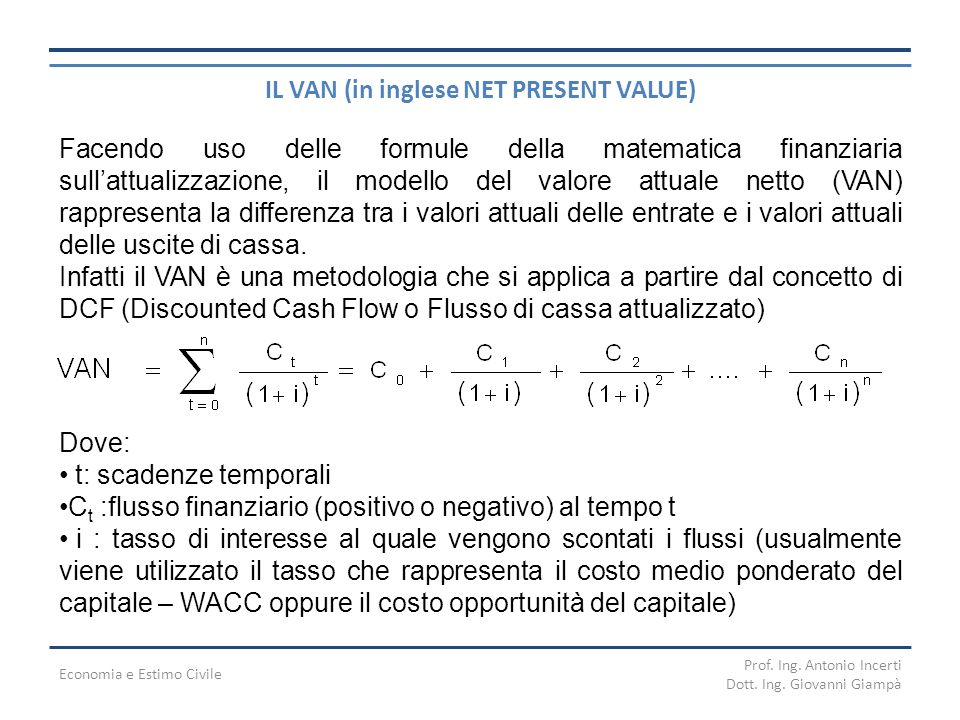 IL VAN (in inglese NET PRESENT VALUE)