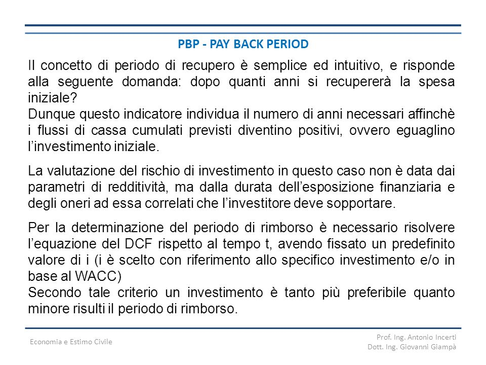 PBP - PAY BACK PERIOD