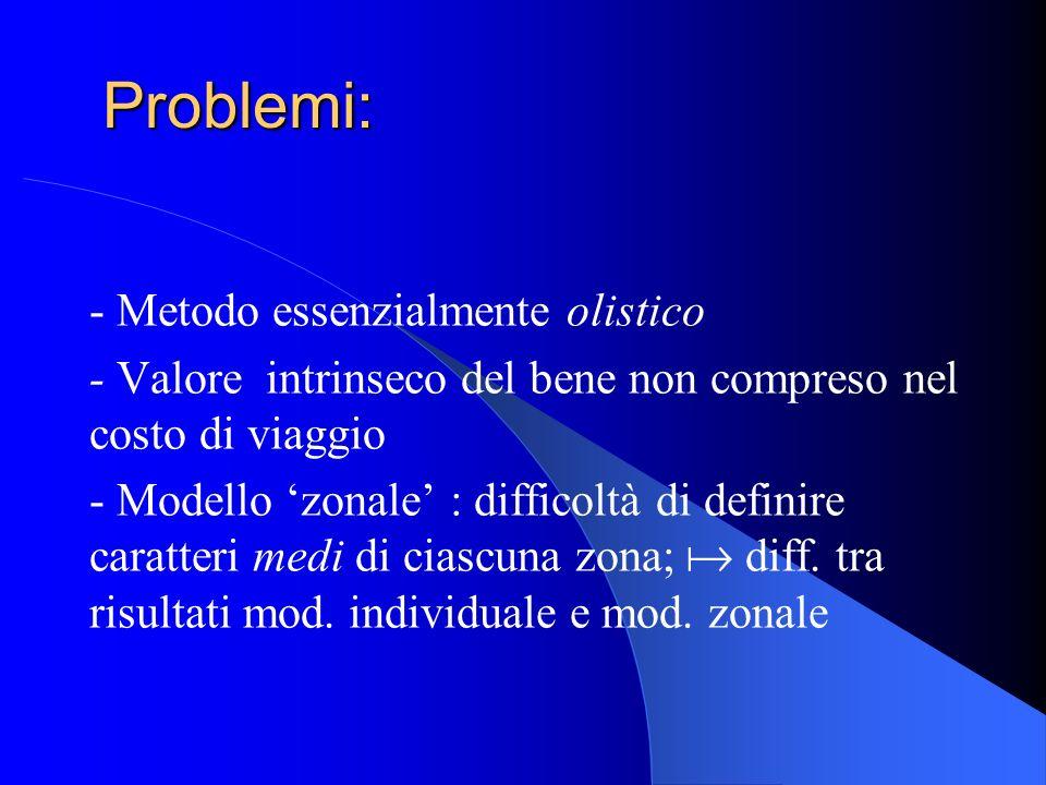 Problemi: - Metodo essenzialmente olistico