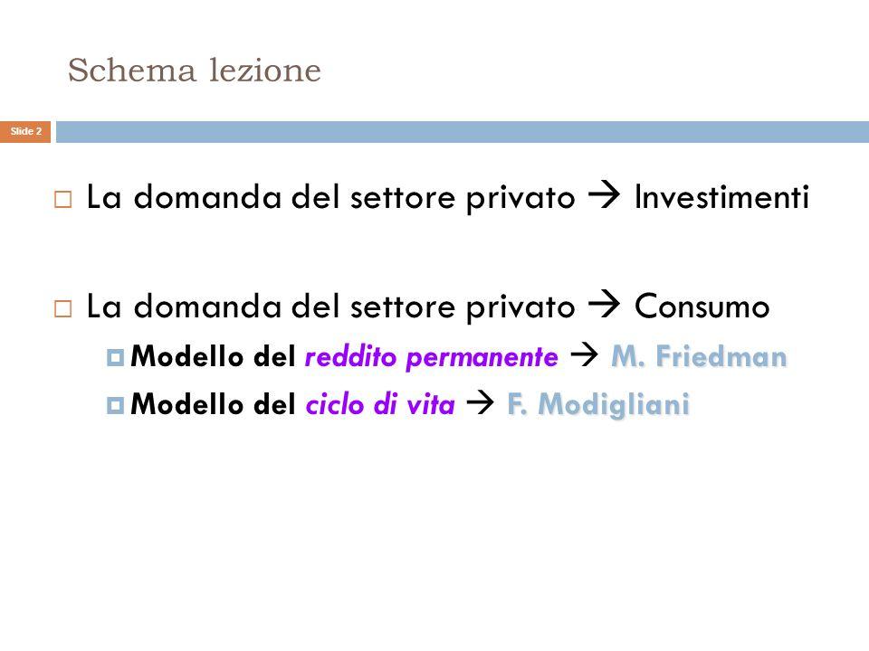 La domanda del settore privato  Investimenti