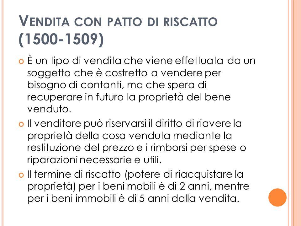 Vendita con patto di riscatto (1500-1509)
