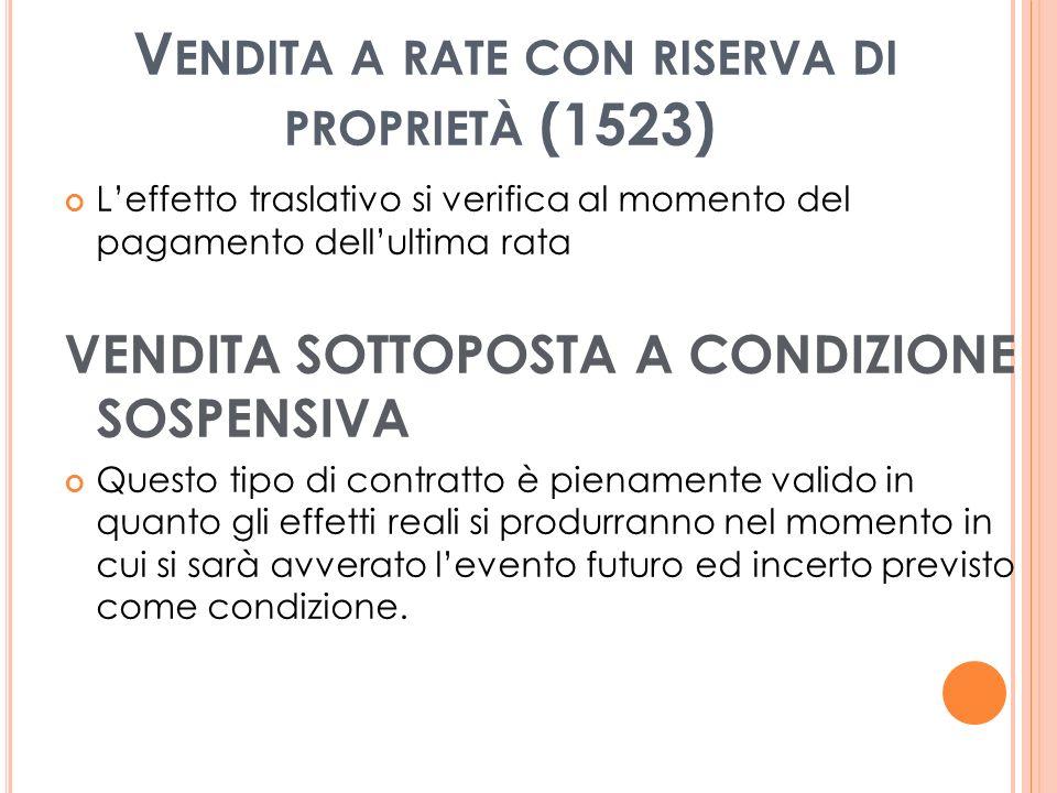 Vendita a rate con riserva di proprietà (1523)