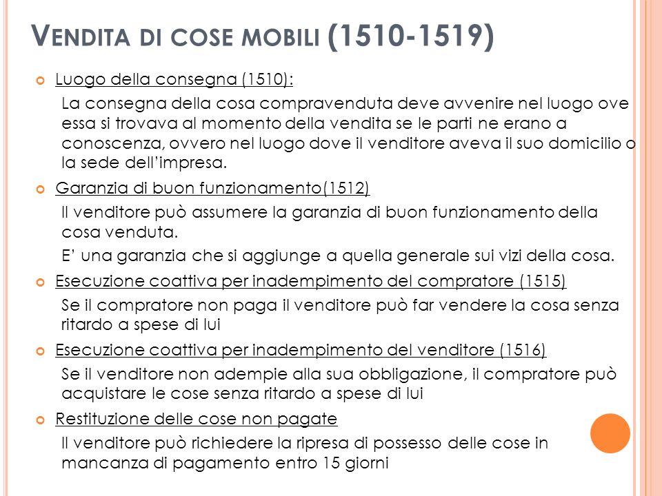 Vendita di cose mobili (1510-1519)