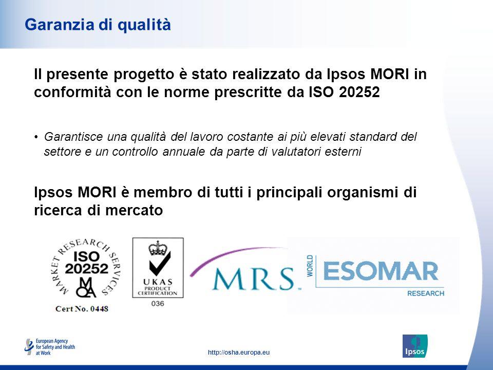 Garanzia di qualità Il presente progetto è stato realizzato da Ipsos MORI in conformità con le norme prescritte da ISO 20252.