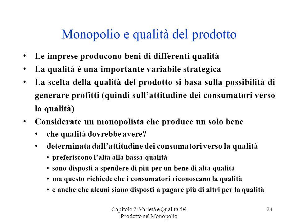 Monopolio e qualità del prodotto