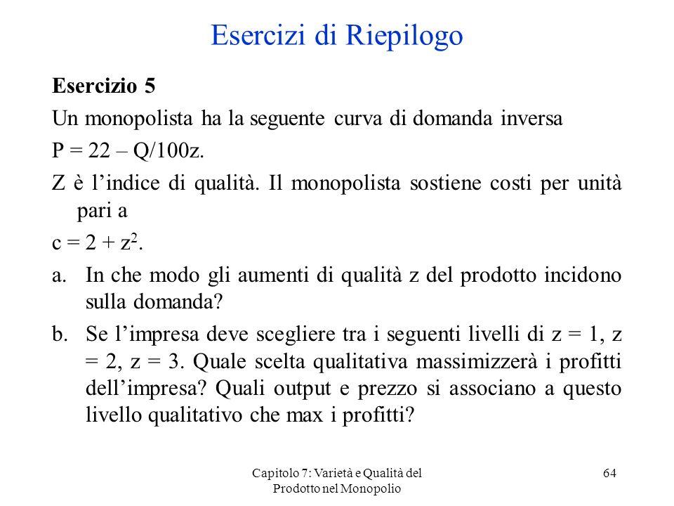Capitolo 7: Varietà e Qualità del Prodotto nel Monopolio