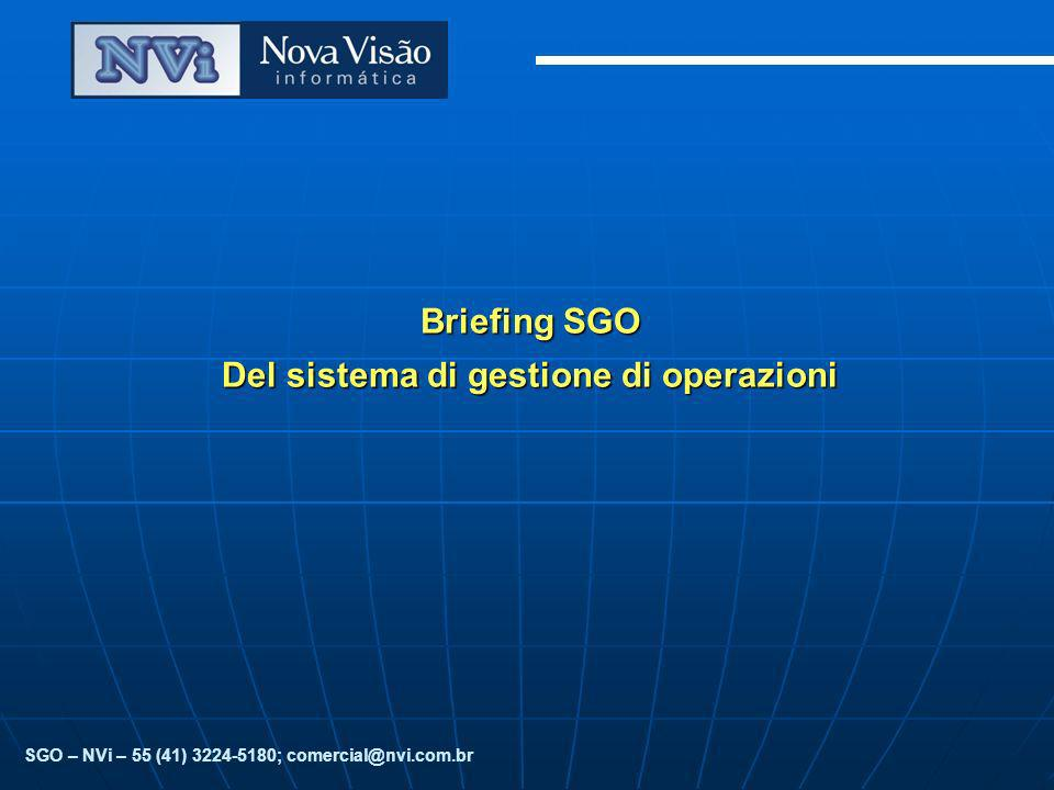 Briefing SGO Del sistema di gestione di operazioni