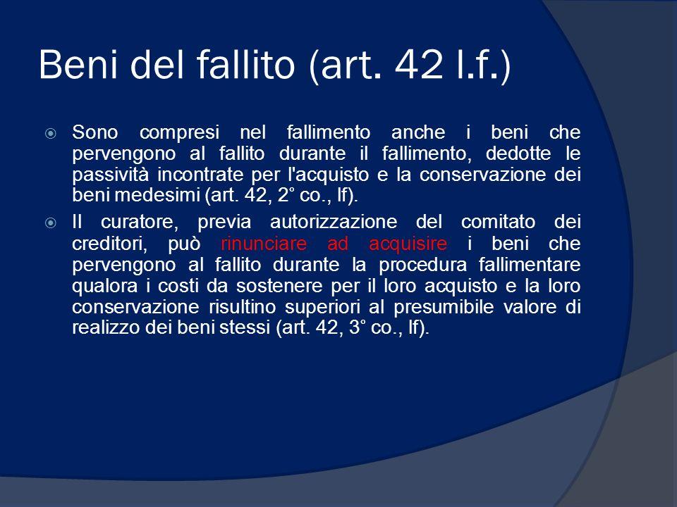 Beni del fallito (art. 42 l.f.)