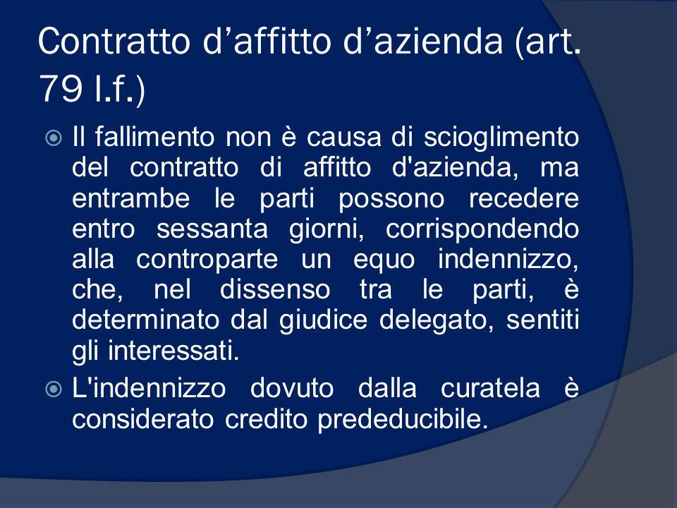 Contratto d'affitto d'azienda (art. 79 l.f.)