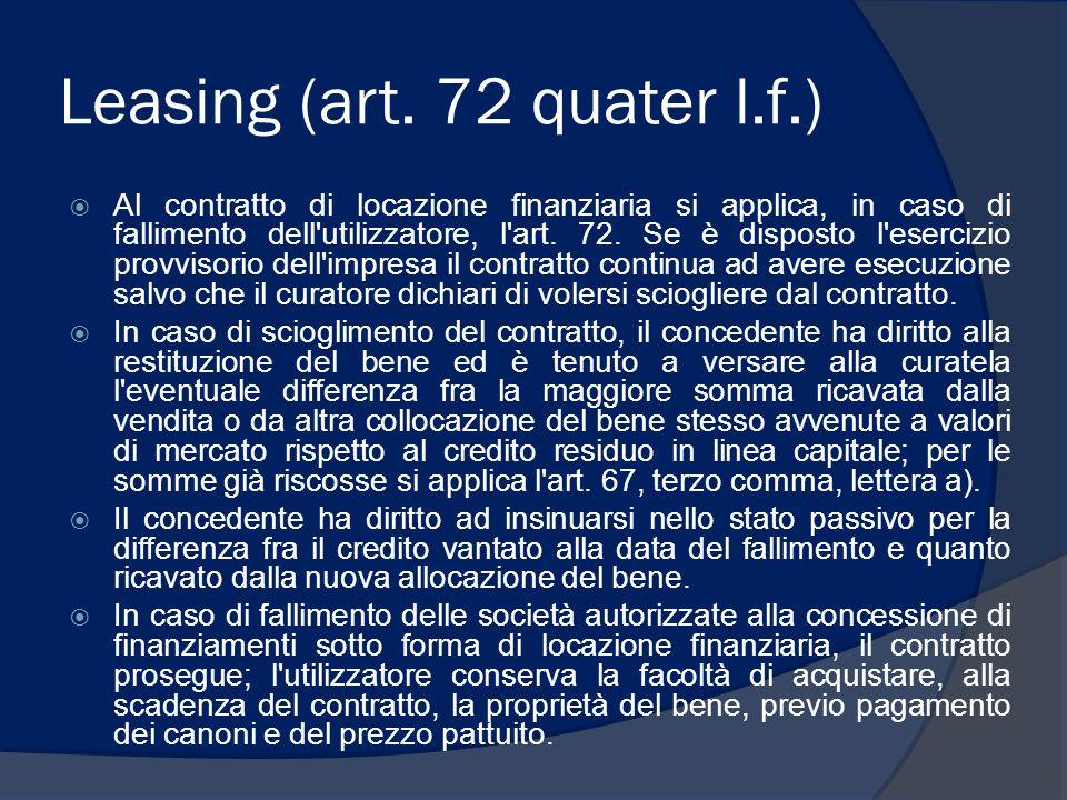 Leasing (art. 72 quater l.f.)