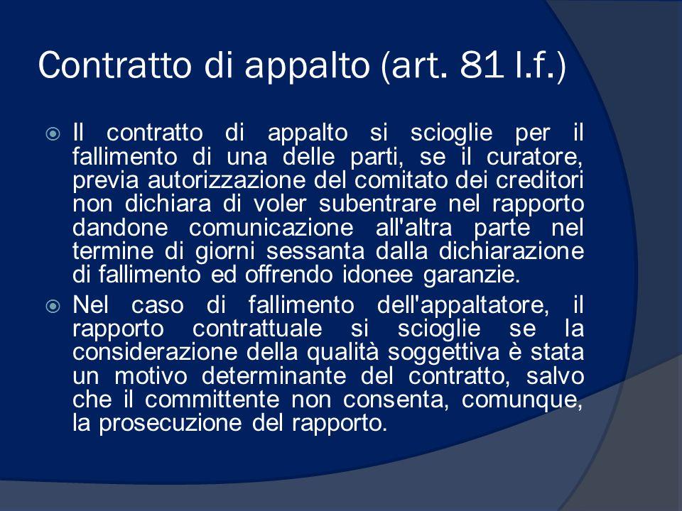 Contratto di appalto (art. 81 l.f.)