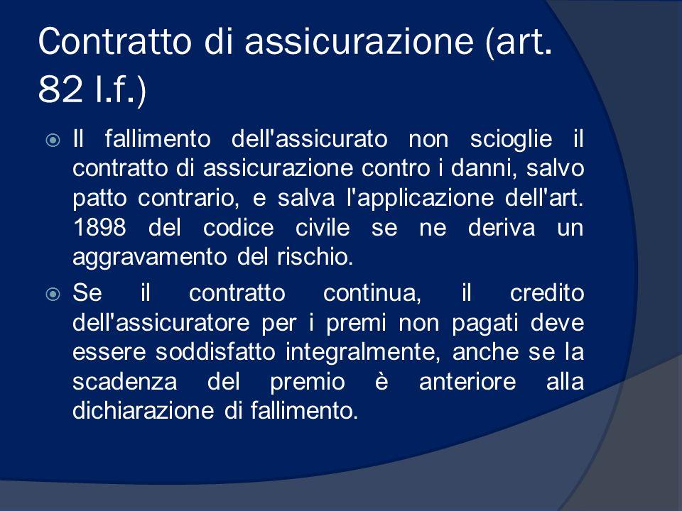 Contratto di assicurazione (art. 82 l.f.)