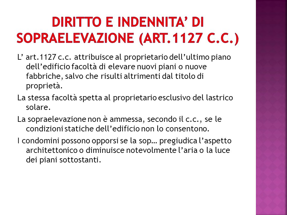 DIRITTO E INDENNITA' DI SOPRAELEVAZIONE (ART.1127 C.C.)