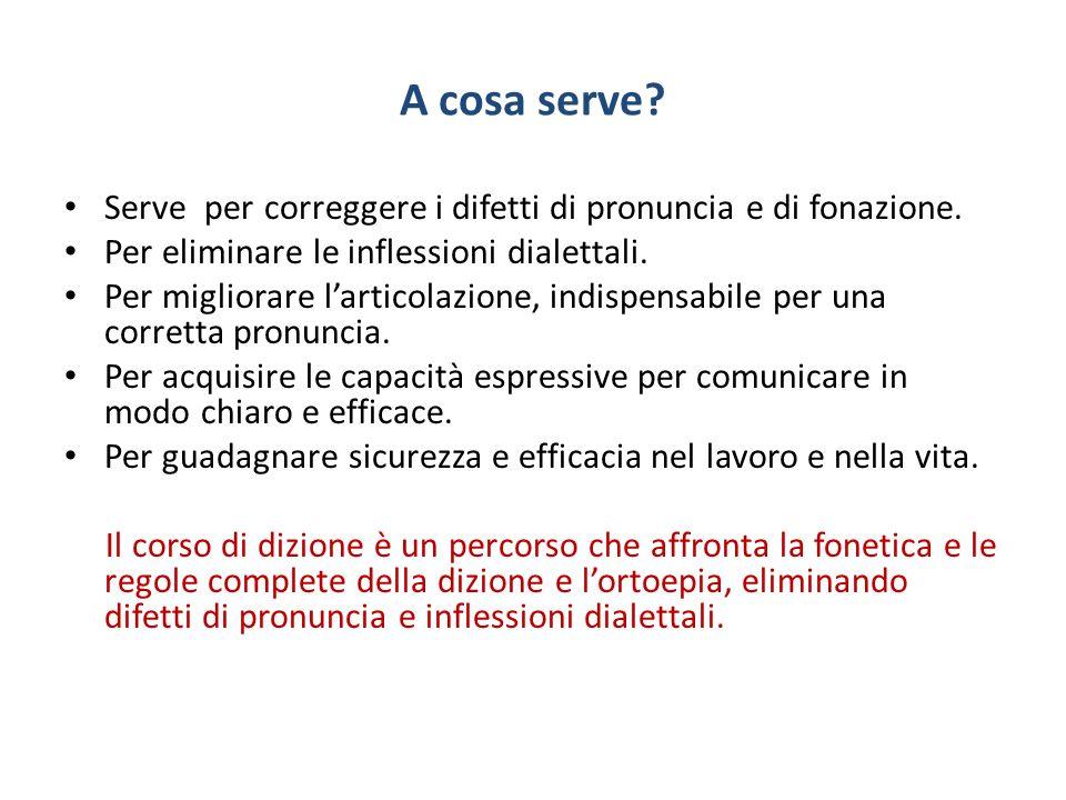 A cosa serve Serve per correggere i difetti di pronuncia e di fonazione. Per eliminare le inflessioni dialettali.