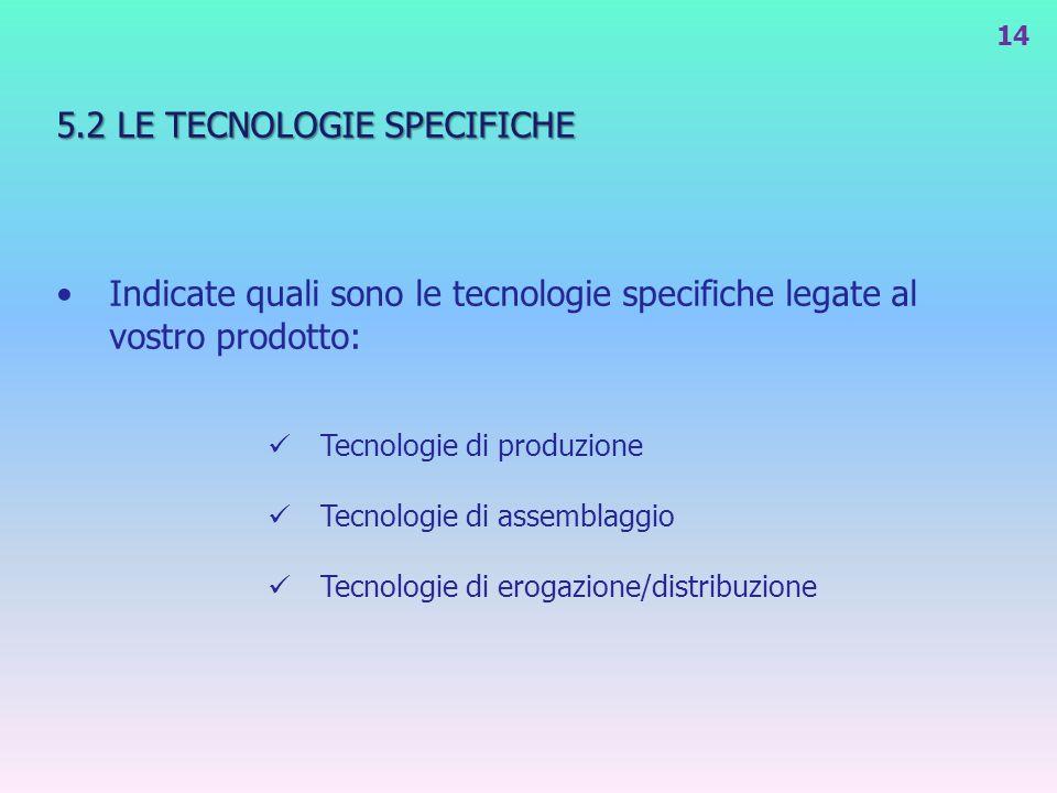 5.2 LE TECNOLOGIE SPECIFICHE