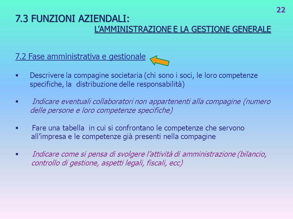 7.3 FUNZIONI AZIENDALI: L'AMMINISTRAZIONE E LA GESTIONE GENERALE
