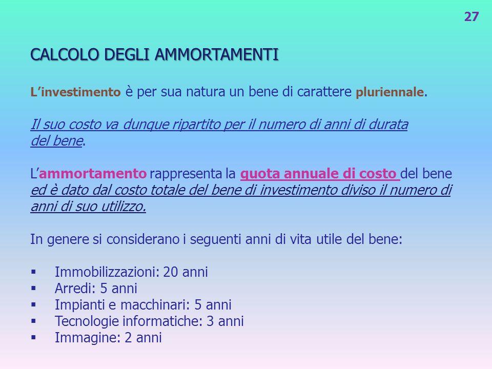 CALCOLO DEGLI AMMORTAMENTI