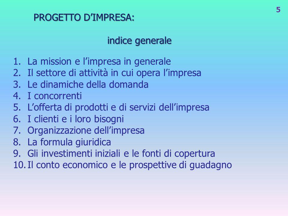 PROGETTO D'IMPRESA: indice generale. La mission e l'impresa in generale. Il settore di attività in cui opera l'impresa.