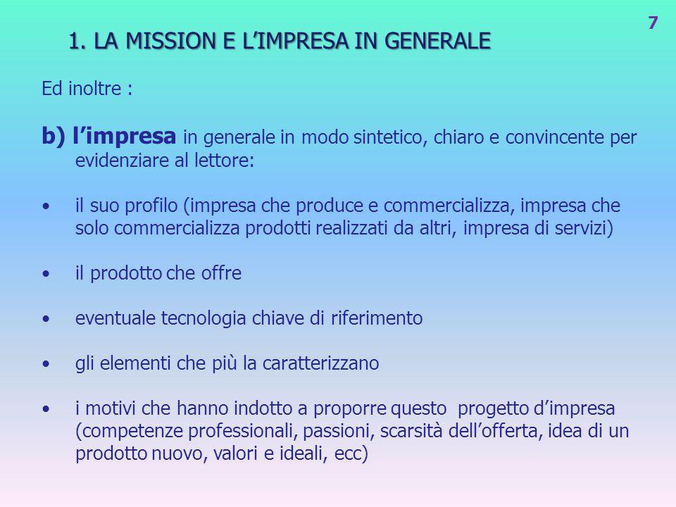 1. LA MISSION E L'IMPRESA IN GENERALE