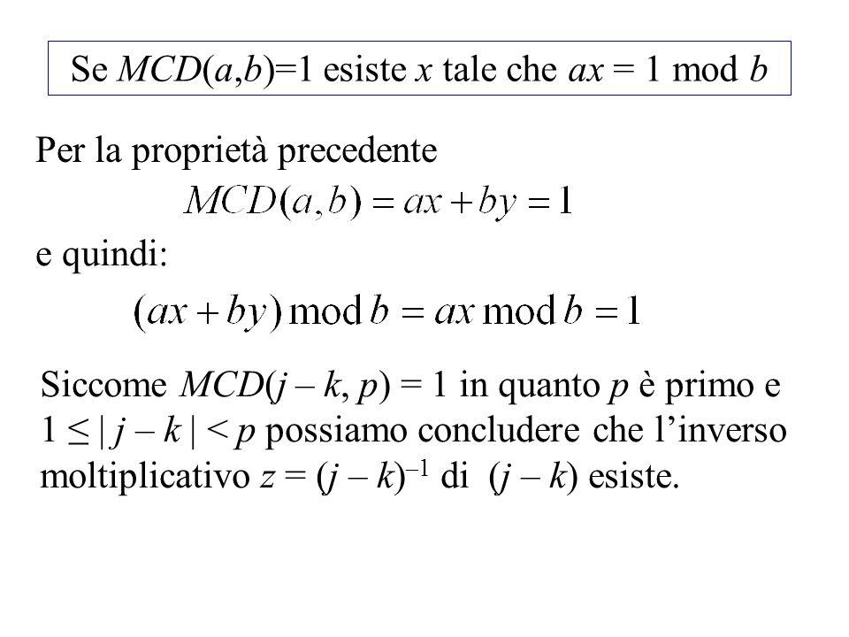 Se MCD(a,b)=1 esiste x tale che ax = 1 mod b
